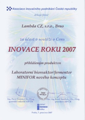 "Diploma for the LAMBDA MINIFOR laboratory bioreactor/fermenter on the competition ""INNOVATION OF THE YEAR 2007"""